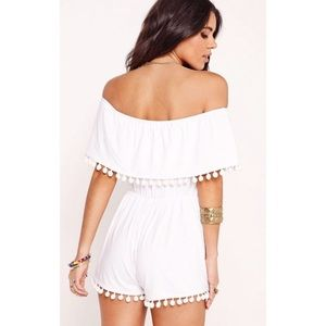 b86ca2475b Missguided Dresses - LAST CALL - NWT White Pom Pom Playsuit Romper